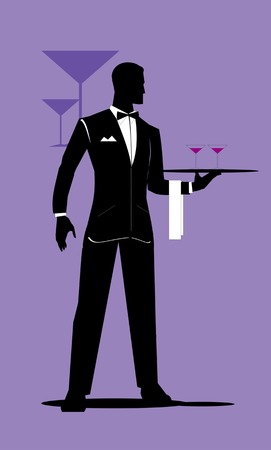 holds: Waiter. full body silhouette of standing waiter holds a tray.