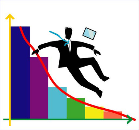 because: silhouette of a falling businessman because of wrong estimation market. Illustration