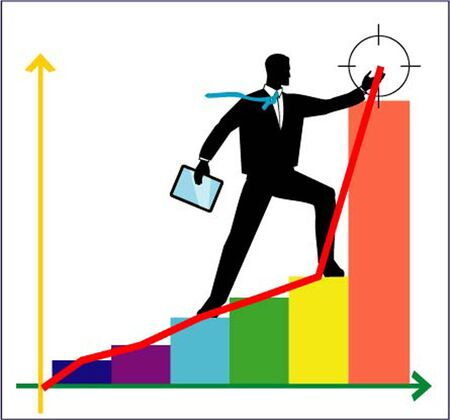 barchart: silhouette of Businessman reach the success point of the top selling.