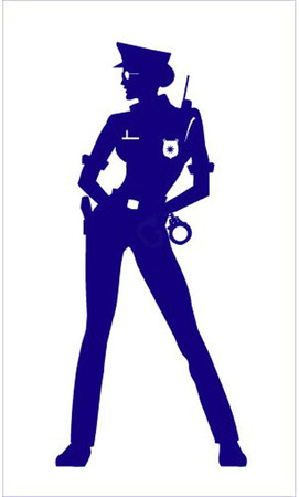 handcuffs woman: silhouette of standing policewoman on white background.