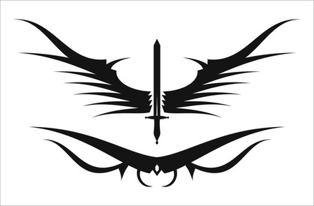 tribalism: winged sword in black and white