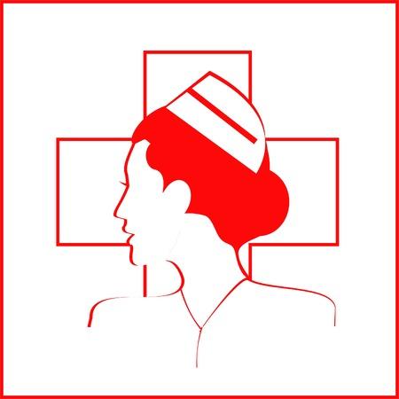 Icono aislado enfermera sobre la cruz blanca y fondo blanco. - Ilustración vectorial Foto de archivo - 74717978