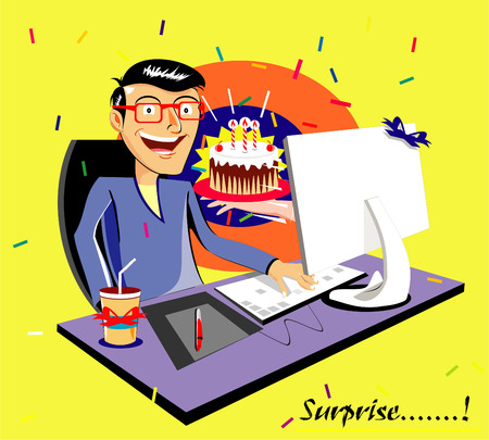 gift. present. Cake. surprise. cartoon vector illustration showing surprising guy get cake from popping out hand from computer screen. Illustration