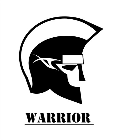 Warrior Head in black and white, side view .