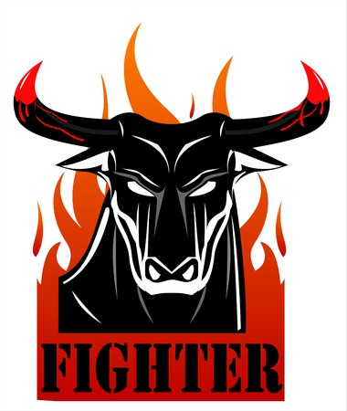 great danger: Raging Black Bull Fighter Over the Fire . Text placed in separated layer. - vector illustration
