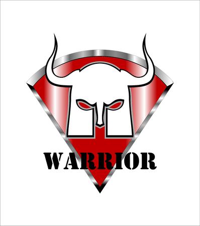 warrior. warrior mask on red shield.
