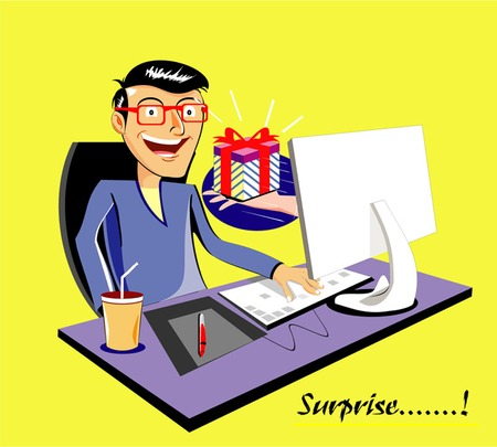gift. present. surprise. cartoon vector illustration showing surprising guy get money from popping out hand from computer screen.