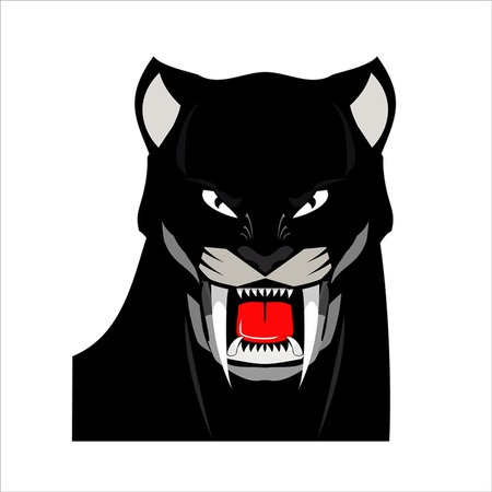 Panther. Black Panther. Black Panther Head. Elegant Bold muscular panther, roaring with the extreme fang. Vector Illustration. Illustration