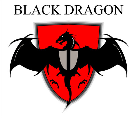 black dragon on red shield. Illustration