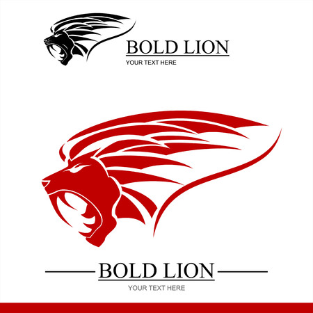 lion head, black and red lion heads Illustration