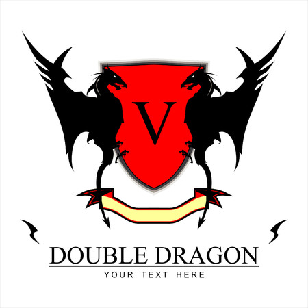 Twin Black Dragons, Red shield, and yellow ribbon at the bottom. combine with Text, suitable for corporate identity, community, symbol of team