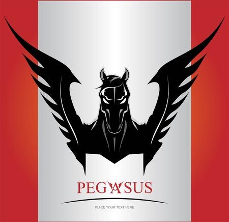 Black Pegasus Horse Head. suitable for team identity, sport club logo or mascot, insignia, embellishment, emblem, illustration for mascot, equestrian club, motorcycle community, etc. Ilustracja