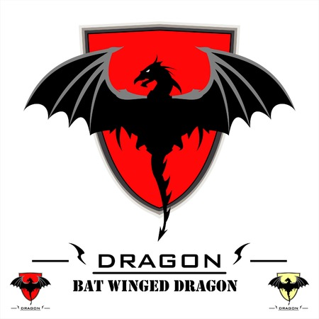 Bat Winged Dragon over red shield. Vector illustration on white background.