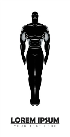 Human silhouette.Male Anatomy concept. Ideal figure of a man. Design for Gym. Bodybuilder silhouette.Sportsman silhouette character. Sport Fitness club creative concept, Hospital. etc.