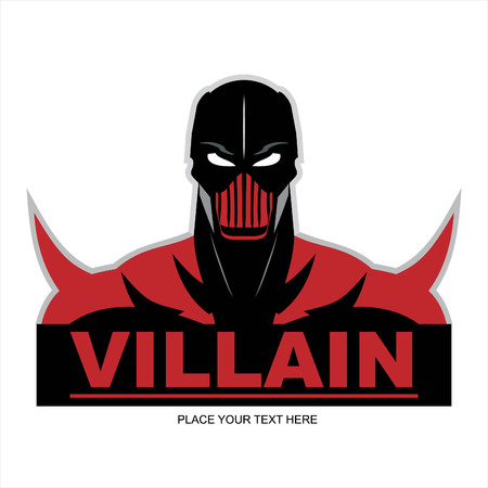 Comic villain with mask illustration on white background.