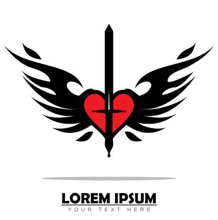 Winged red Heart and black Sword Ilustração
