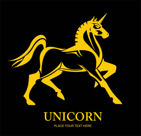 Standing yellow unicorn on black background