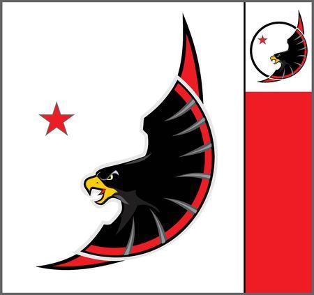 black falcon,.mascot eagle, eagle. Illustration