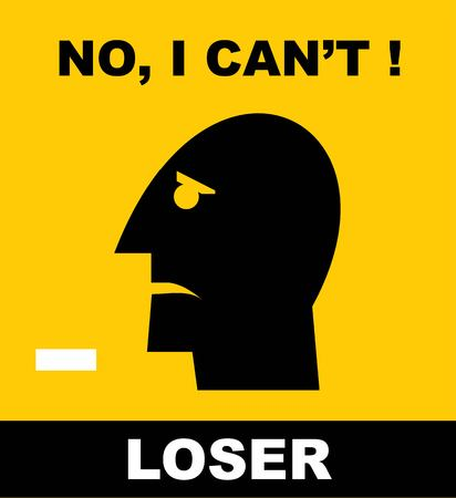 Loser head icon, pessimistic.