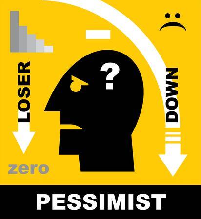 Loser, pessimistic person, loser head icon