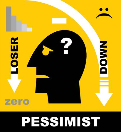 Loser, pessimistic person, loser head icon