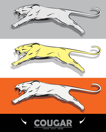 Leaping cougar icon on multi-color background illustration.  イラスト・ベクター素材