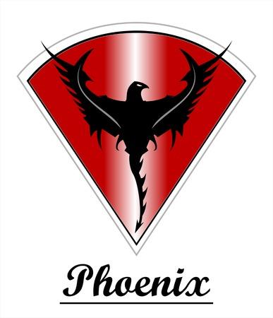 Black Phoenix over the red metallic diamond shield Vectores