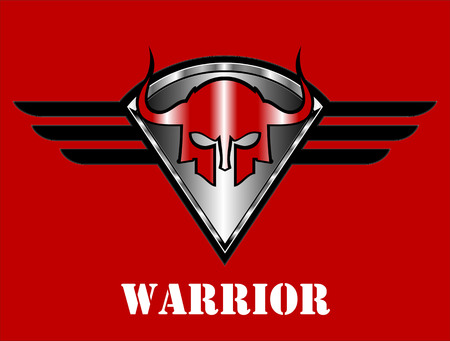 Red metallic spartan mask over the winged shield.