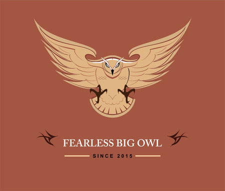Fearless big owl icon design Illustration