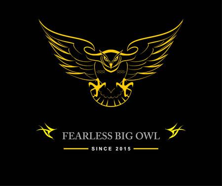 Fearless big black owl on black background icon design Çizim