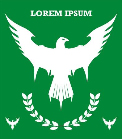 White eagle icon on green background