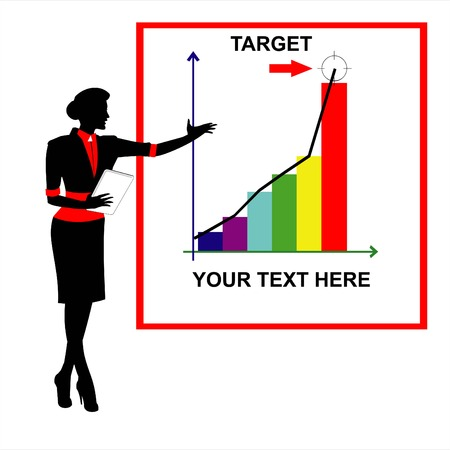 Target. Business woman, presenting a market plan. presentation.