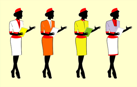 Waitressstewardess silhouette, holding menu digital gadget Illustration