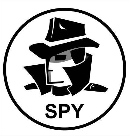 Spy agent hacker in black and white icon design Illustration