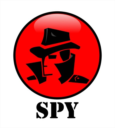 Secret agent spy agent head in black on the red cycle button
