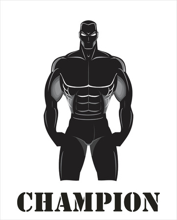 Champion, fighter, body builder. Design for Gym. Sportsman silhouette character. Vectores