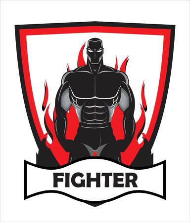 Fighter badge. Body builder on fire. Vectores