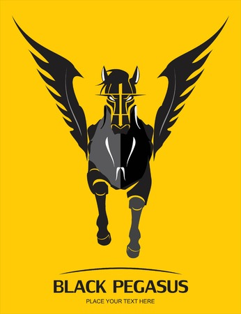 Black Pegasus on yellow background Vectores