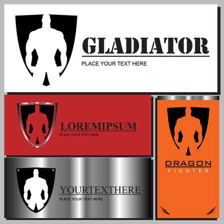 gladiator icons set with man silhouette on different colored background. Vector illustration. Illustration