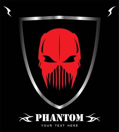 Red demon, red mask on shield illustration on black background.