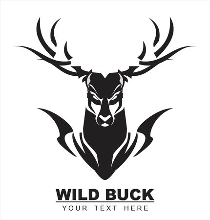 Wild buck icon with buck or deer silhouette on white background. Vector illustration.