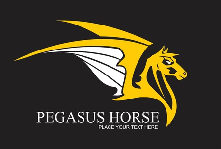 Yellow Pegasus horse, combine with text. suitable for team identity, sport club icon or mascot, insignia, embellishment, emblem. illustration for apparel, equestrian club, motorcycle community, etc.