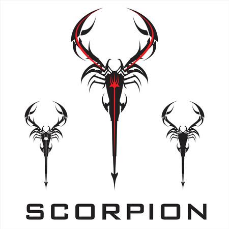 Elegant stylized scorpion in black and white.