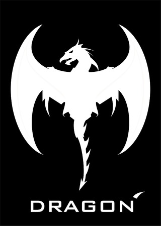 Flying White Dragon icon design Illustration