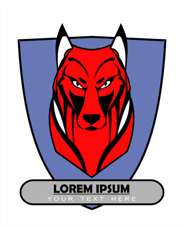 Red Wolf Over the Shield icon design Illustration