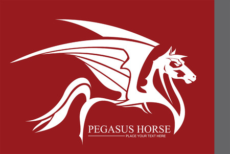 Pegasus in white color. Side view, winged horse combine with text. Suitable for team identity, sport club icon or mascot, book cover, illustration for apparel, mascot, equestrian club, motorcycle community, etc.