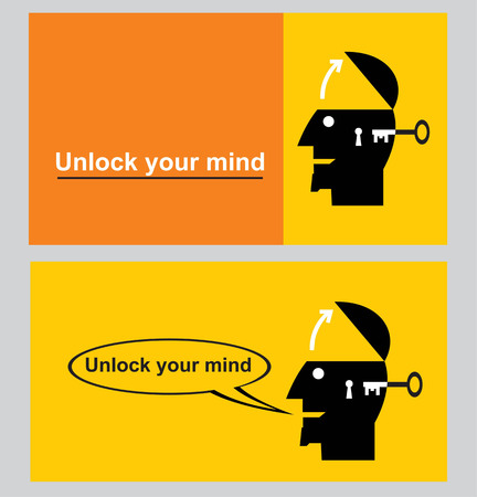 Unlock your mind. Unlock your potential. Motivational slogan for success.
