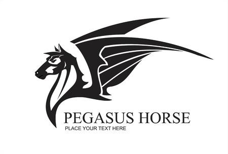 Pegasus Horse Head, in black and white. tc