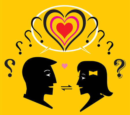 Two question mark transformed to one heart shape. Interaction process between man and woman to know each other.