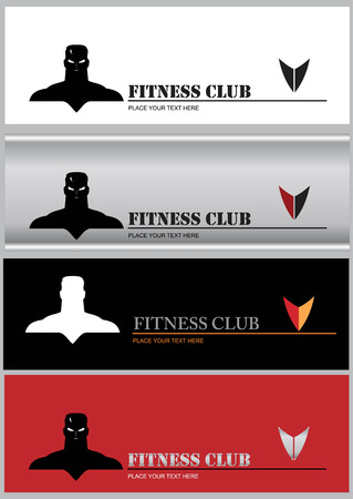 Elegant muscular man icon combine with text. Suitable for fitness center identity, fighting sport club, gym, martial arts community, wellness equipment store. etc Ilustrace